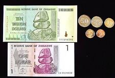 "5 Zimbabwe coins: 1-50 cents 2014 ""Bond coins"" +1 dollar & 10 Trillion banknotes"