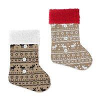 Christmas Hessian Reindeer Stocking Jute Decor Gift Party Santa Sack Nordic Bag