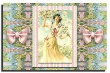 GREETING CARD Victorian Lady Pink Roses Shabby Chic Pink BLANK for any occasion