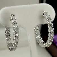 2.00Ct Round-Cut D/VVS1 Diamond Beautiful Hoop Earrings 10k White Gold Finish