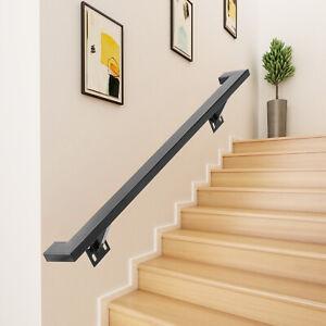 Rampe d'escalier Plat Main courante Noir 152.4cm Mural support en Acier