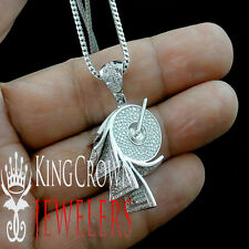 10K White Gold Silver Simu Diamond Roll of Money Pendant Dollar Charm + Chain