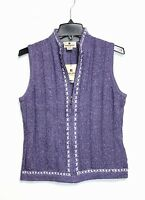 Woolrich - Women's XS - NWT - Purple Full Zip - Wool Blend Sweater Vest