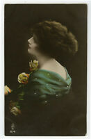 c 1919 European Glamour BEAUTIFUL LADY antique tinted photo postcard
