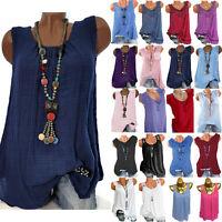 Women Summer Vest Sleeveless Tank Top Shirt Casual Loose Tunic T-shirt Blouse XL