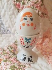 VTG Egg Cup with Salt Pepper Shaker Woman GUC