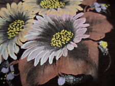 VINTAGE HAND PAINTED HANDPAINTED BROWN SILK SCARF WITH DAISY FLOWERS