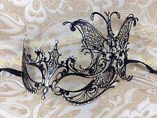 "Black ""Butterfly"" Laser Cut Metal Venetian Masquerade Mardi Gras Mask"