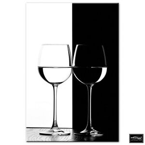 Food Kitchen Wine Glasses   BOX FRAMED CANVAS ART Picture HDR 280gsm