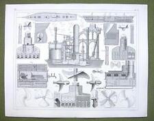 STEAMSHIP Construction Propellers Engines - 1844 Original Steel Engraving