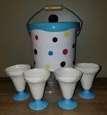 Nostalgic Ceramic Ice Cream Container Liner &4 Sundae Cups The Main Ingredients
