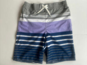 Old Navy Boys Swim Shorts Size XL 14-16 Swimsuit Trunks Blue Gray Stripes