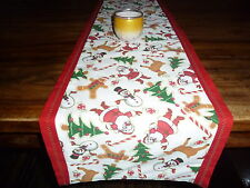 "Christmas, festive, Santa, Snowman, xmas trees design table runner 98""  x  13.5"""