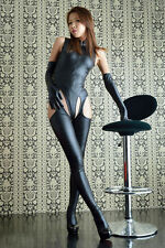 Sexy Women PVC Wet Look Catsuit Bodysuit Open Crotch Pantyhose Gloves Lingerie