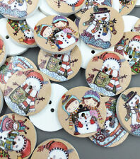 25pcs Christmas snowman Round Wooden Sewing Buttons scrapbooking decoration 25mm