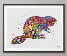 Beaver Watercolor Print Manatee Painting Cute Animal Nursery Decor Gift Home