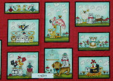 Patchwork Quilting Sewing Fabric Fowl Play Cats Dogs Panel 60x110cm