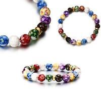 Natural Stone Bead Bracelet Men Women Tiger Eye Turquoise Bangle Jewelry Gift