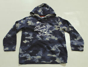 Old Navy Boy's Junior Stretch Lined Gone Fishing Hoodie RH7 Blue Large (10-12)
