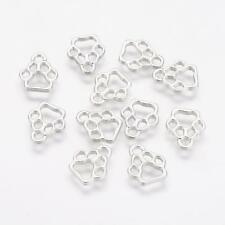 10 Paw Print Charms Silver Tone Dog Pendants Connectors Links 13mm Open Design