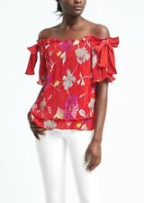 Banana Republic Women's Red Floral Tiered Off Shoulder Bow Sleeve Top M NWT