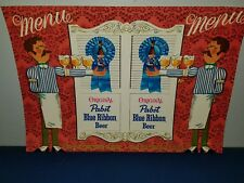 (VTG) 1960s PABST BEER MENU COVER LONG ARM WAITER BACK BAR STATUE GUY SIGN MINT
