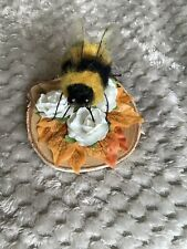 Needle Felted Fuzzy Bumble Bee With Acetate Wings