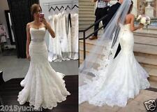 White/Ivory Bead Mermaid Wedding Dress Bridal Gown Custom Size 6+8+10+12+14+16++