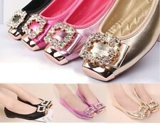 WOMENS LADIES FLAT JEWEL DIAMANTE BOW SLIPPERS LOAFERS SLIP ON SHOES COMFORTABLE