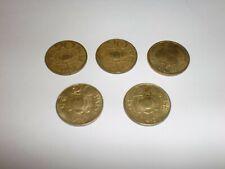 """INDIA 5 OLD COINS:""""20 PAISE""""-1968/1969/1970X2 &1971-NIC-BRASS-RARE-2 DESIGN#5DA"""