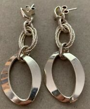 Italian Solid 925 ITALY Stamp Sterling Silver Interlocked Circle Drop Earrings'