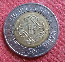 500  Lire Repubblica Italiana CENTENARIO BANCA D'ITALIA 1993 2ndo tipo-  n 968