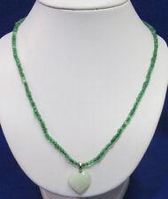 Vintage White Quartz Stone Heart Pendant Stretch Necklace Green Beads Jewelry