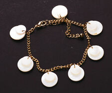 Tres Chic- Iridescent White Button Charm & Adjustable Gold Chain Bracelet(Zx186)
