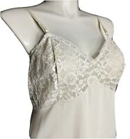Vanity Fair 42 Beige Nylon Floral Lace Full Slip Dress Sissy Vintage Boudoir