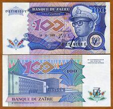 Zaire, 100 Zaires, 1988, P-33, UNC --> Mobutu