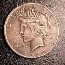 1928 Peace Silver Dollar, Very High Grade, Gorgeous Coin, Unique Dark Toning