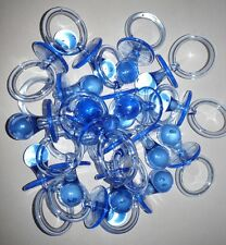 12pcs Clear Blue Acrylic Baby Shower Pacifier Favor. Chupones en color Azul niño