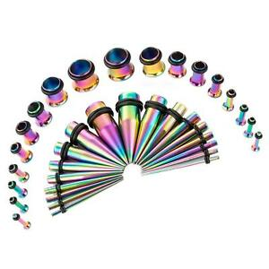 Taper Kit Stretching Multi Color Set 36pc Gauges 14g-00g Anodized