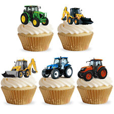 15 Stand Up Farm Tractors & Diggers Edible Premium Wafer Paper Cupcake Toppers