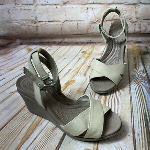 Crocs Leigh II Womens Size 4 Tan Beige Wedge Heel Sandals Shoes Ankle Strap