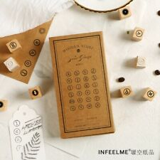 Multi-functional Wooden Rubber Stamps Set Scrapbooking Numbers Letters DIY Decor
