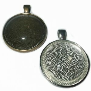 LARGE ROUND SILVER BRONZE CABOCHON PENDANT CAMEO SETTINGS TRAY 30mm  C32