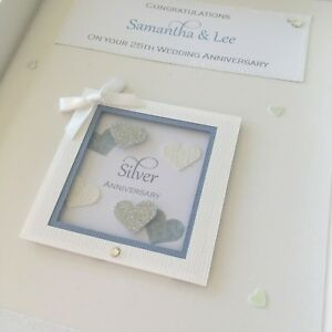 Personalised 25th Silver Wedding Anniversary Card, Swarovski crystals, boxed
