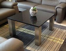 Couchtisch/ Beistelltisch Platte schwarz + Granit/ Marmor Edelstahlgestell matt