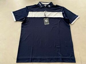 FootJoy Stripe Polo Shirt Large Navy / Grey Athletic Fit
