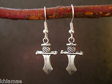 Athame Sword Earrings silver plated wiccan pagan jewellery pair hook larp