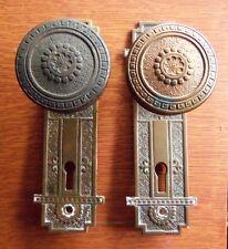 Antique Fancy Brass Vernacular Victorian Doorknobs Door Knobs & Plates c1885