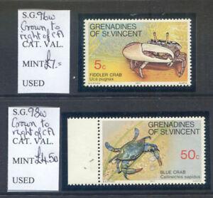 St. Vincent Grenadines 1977 Crustaceans 5c & 50c wmk. varieties (2021/02/21#08)
