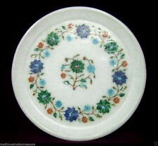 White Marble Serving Dish Plate Malachite Stone Floral Inlay Marquetry Art Decor
